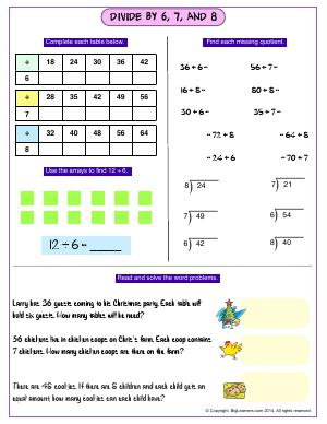 Preview image for worksheet with title Divide By 6, 7, and 8
