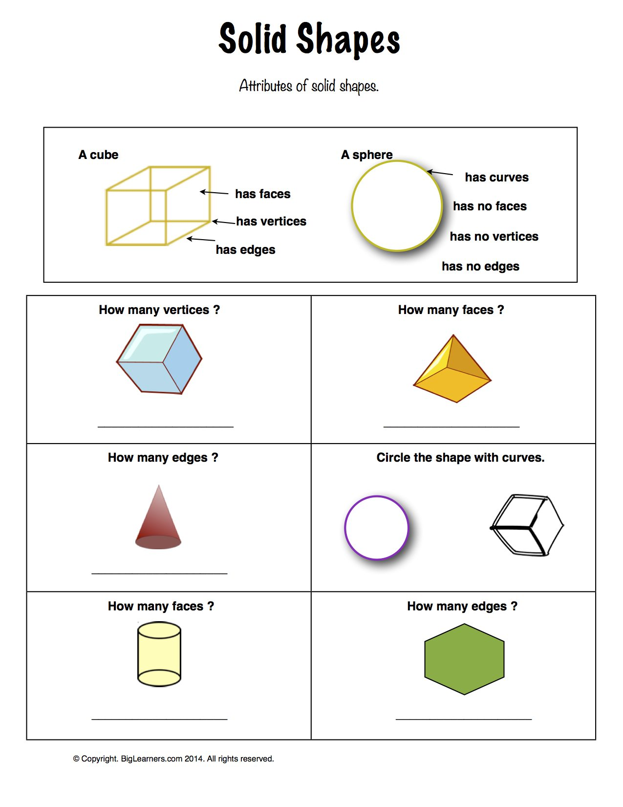 Preview image for worksheet with title Solid Shapes