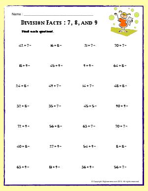 Preview image for worksheet with title Division Facts : 7, 8, and 9