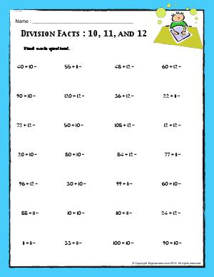 Preview image for worksheet with title Division Facts : 10, 11, and 12