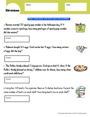 Preview image for worksheet with title Division (Word Problems)