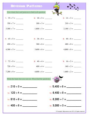 Preview image for worksheet with title Division Patterns
