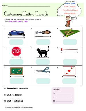 Preview image for worksheet with title Customary Units of Length