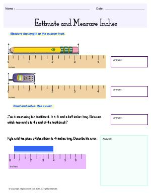 Preview image for worksheet with title Estimate and Measure Inches
