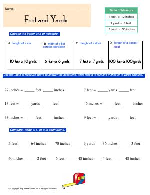 Preview image for worksheet with title Feet and Yards