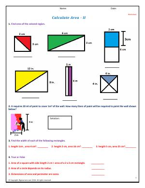 Preview image for worksheet with title Calculate Area - II