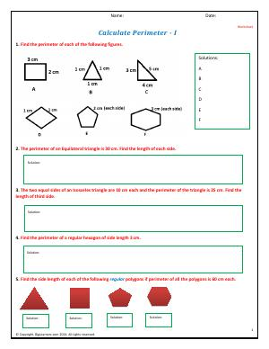 Preview image for worksheet with title Calculate Perimeter - I