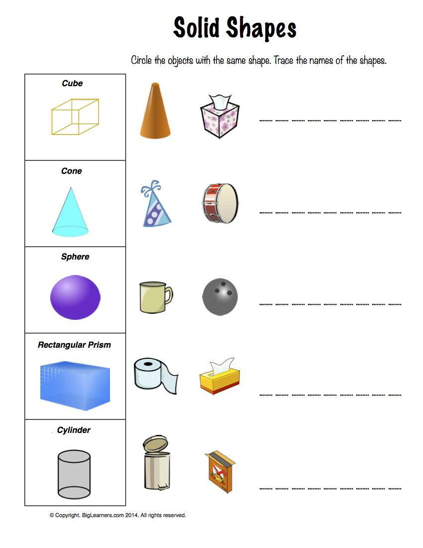 Worksheets Solid Shapes Worksheet grade 1 free common core math worksheets biglearners preview image for worksheet with title solid shapes