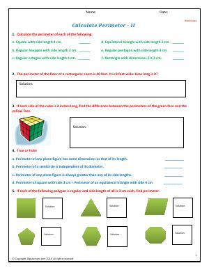 Preview image for worksheet with title Calculate Perimeter - II
