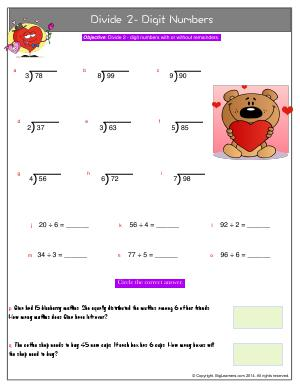 Preview image for worksheet with title Divide 2- Digit Numbers