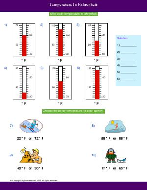 Preview image for worksheet with title Temperature In Fahrenheit