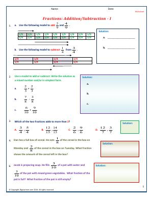 Preview image for worksheet with title Fractions : Addition/Subtraction - I