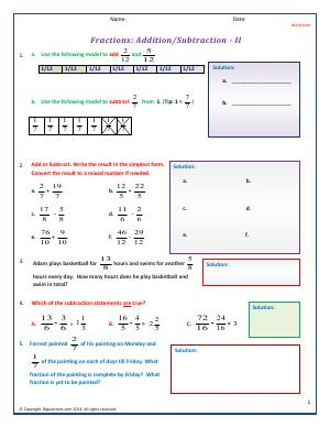 Preview image for worksheet with title Fractions : Addition/Subtraction - II