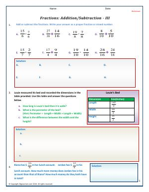 Preview image for worksheet with title Fractions : Addition/Subtraction - 3
