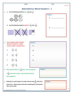 Preview image for worksheet with title Add/Subtract Mixed Numbers - I