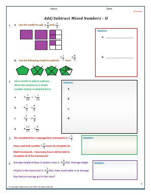 Preview image for worksheet with title Add/Subtract Mixed Numbers - II
