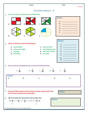 Preview image for worksheet with title Fraction Basics - I