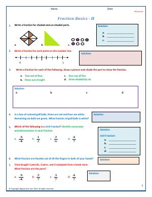 Preview image for worksheet with title Fraction Basics - II