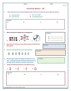 Preview image for worksheet with title Fraction Basics - III