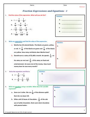 Preview image for worksheet with title Fraction Expressions and Equations - I