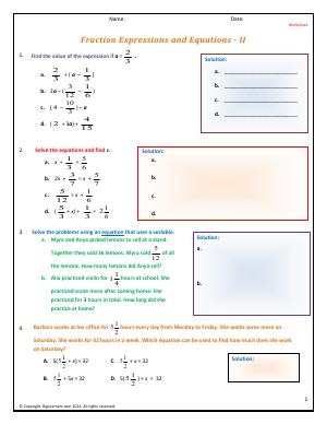 Preview image for worksheet with title Fraction Expressions and Equations - II