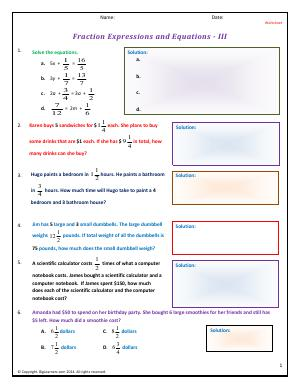 Preview image for worksheet with title Fraction Expressions and Equations - III