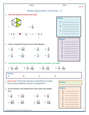 Preview image for worksheet with title Model Equivalent Fractions - I