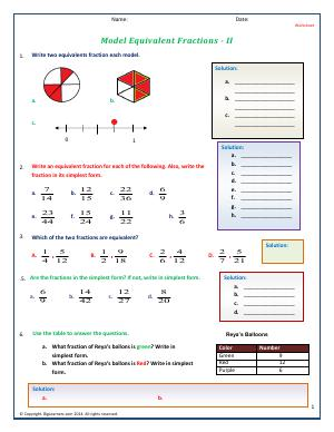 Preview image for worksheet with title Model Equivalent Fractions - II
