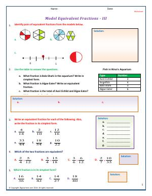 Preview image for worksheet with title Model Equivalent Fractions - III