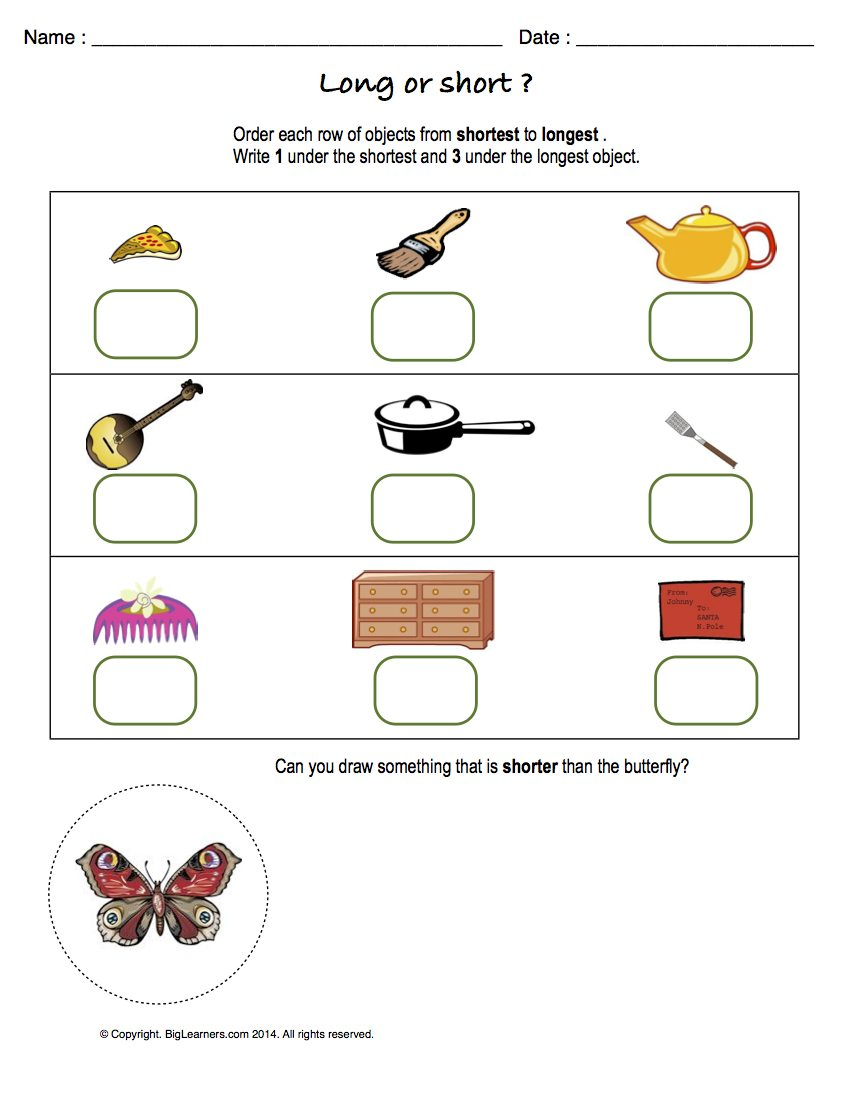 Preview image for worksheet with title Long or Short?