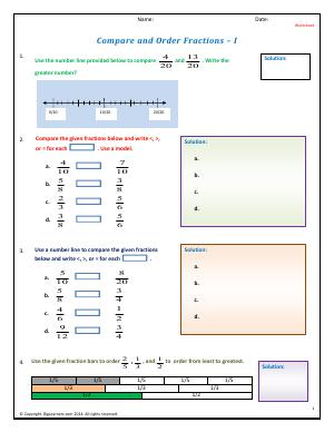 Preview image for worksheet with title Compare and Order Fractions - I