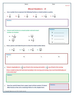 Preview image for worksheet with title Mixed Numbers - II