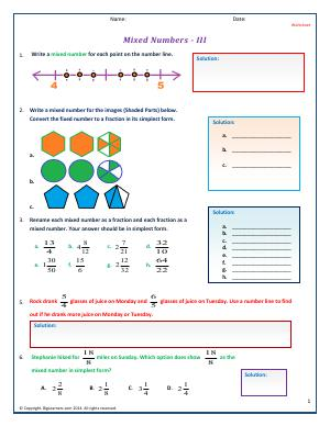 Preview image for worksheet with title Mixed Numbers - III