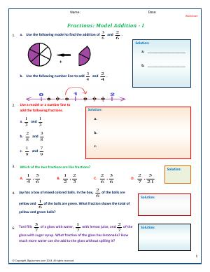Preview image for worksheet with title Fractions: Model Addition - I