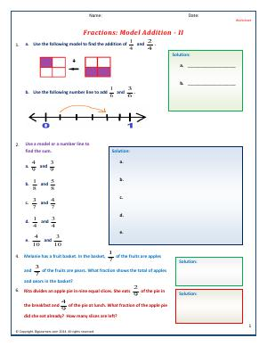 Preview image for worksheet with title Fractions: Model Addition - II