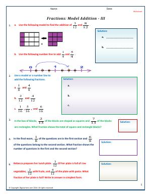 Preview image for worksheet with title Fractions: Model Addition - III
