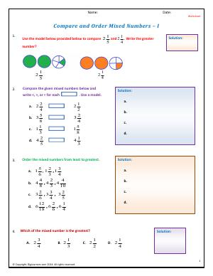 Preview image for worksheet with title Compare and Order Mixed Numbers - I