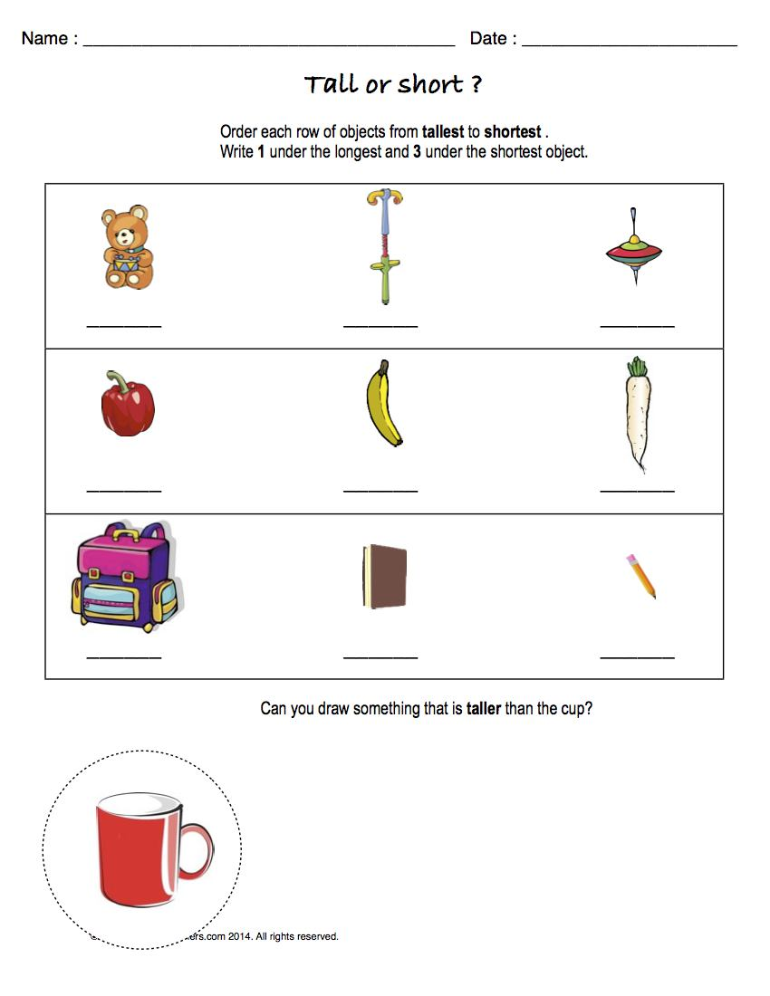 Preview image for worksheet with title Tall or Short ?
