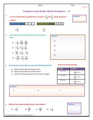 Preview image for worksheet with title Compare and Order Mixed Numbers - II