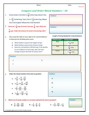 Preview image for worksheet with title Compare and Order Mixed Numbers - III