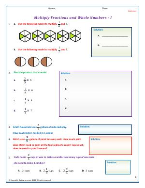 Preview image for worksheet with title Multiply Fractions and Whole Numbers - I