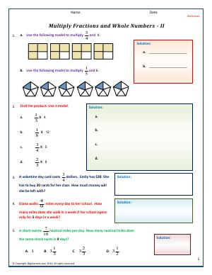 Preview image for worksheet with title Multiply Fractions and Whole Numbers - II