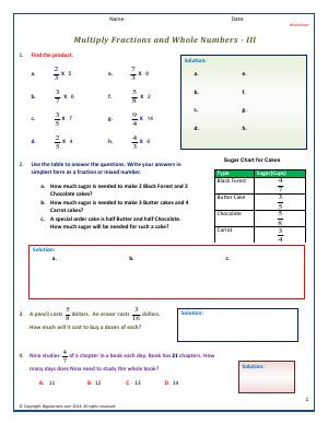 Preview image for worksheet with title Multiply Fractions and Whole Numbers - III