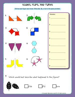 Preview image for worksheet with title Slides, Flips, and Turns