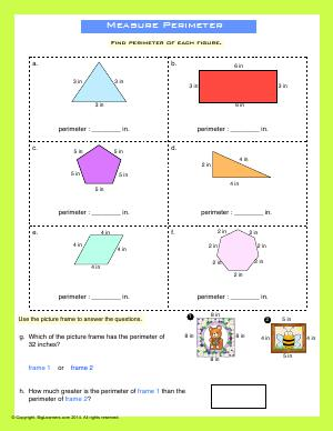 Preview image for worksheet with title Measure Perimeter