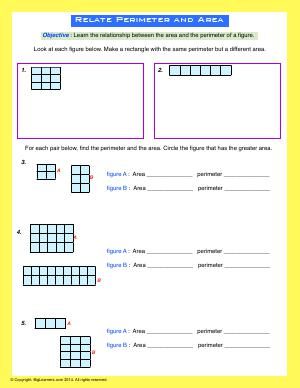 Preview image for worksheet with title Relate Area and Perimeter