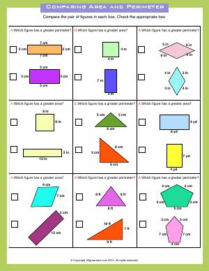 Preview image for worksheet with title Comparing Area and Perimeter