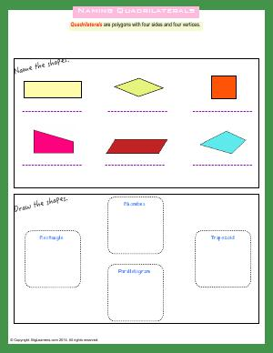 Preview image for worksheet with title Naming Quadrilaterals