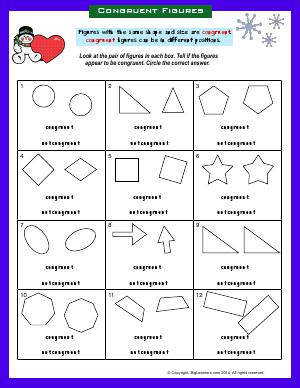 Preview image for worksheet with title Congruent Figures