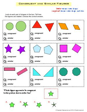 Preview image for worksheet with title Congruent and Similar Figures